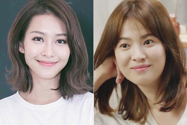 Trong khi Song Hye Kyo có gương mặt tròn trịa, Khả Ngân sở hữu đường nét thanh thoát hơn. Tuy nhiên khi cười, cô nàng khá giống đàn chị ở phần má bầu bĩnh, khóe miệng cười trong sáng, đáng yêu. Đôi mắt tinh nhanh của Khả Ngân cũng là điểm có thể giúp cô nàng thành công trong việc diễn lại vai bác sĩ Kang đình đám.