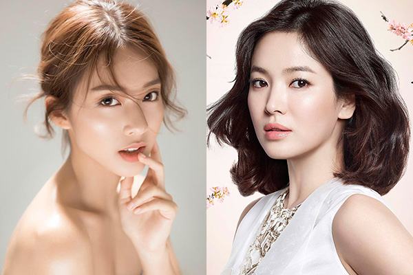 Với gương mặt sẵn có những đường nét xinh đẹp, Khả Ngân và Song Hye Kyo không ưa chuộng lối trang điểm dày phấn, đậm đà. Thay vào đó, cả hai thường xuyên trang điểm trong veo với những tông màu nền nã như cam, hồng đào...
