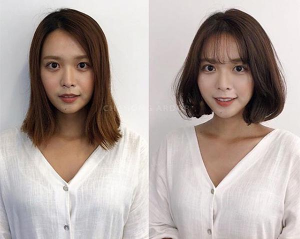 Những kiểu tóc như xoăn sóng nhẹ, tóc ngắn mái thưa, tóc phồng cụp... đặc biệt được ưa chuộng ở Hàn Quốc vì giúp gương mặt thon gọn hơn, trẻ trung và sang chảnh hơn.