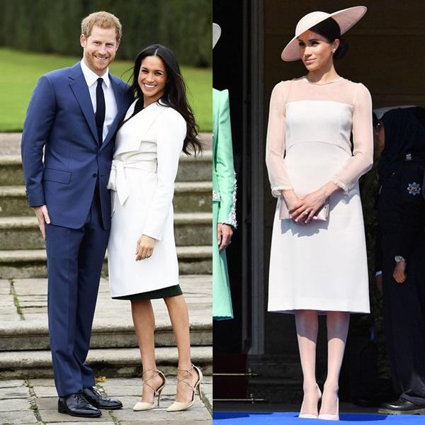 Trong lễ công bố đính hôn tại điện Kensingtonhồi tháng 11 năm ngoái, Meghan từng gây xôn xao khi diện váy màkhông mặc quần tất màu nude (ảnh trái). Sau khi kết hôn với Harry, thói quen này của Meghanđã được chỉnh lại nghiêm túc bởi theo quy định hoàng gia, phụ nữ không được xuất hiện với đôi chân trần trước công chúng (ảnh phải).