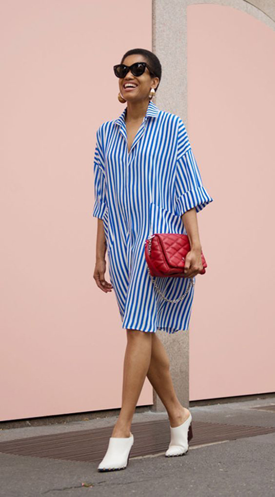 Ngoài váy đơn sắc, các kiểu vải in hoạ tiết kẻ sọc trẻ trung cũng được nhiều fashionista thế giới yêu thích ở mùa mốt năm nay.
