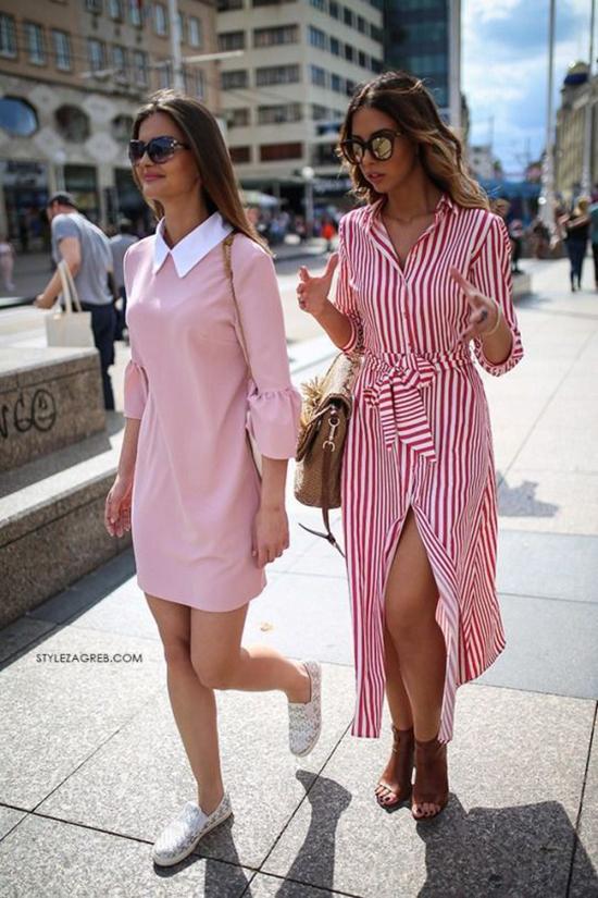 Những mẫu váy thùng thình được bố trí đai lưng vải, hàng cúc gài để giúp bạn gái dễ dàng sử dụng trang phục với nhiều cách khác nhau.