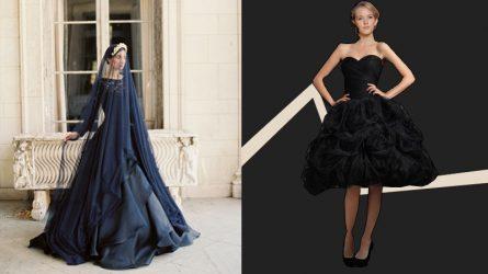 Không phải váy trắng truyền thống, xu hướng váy cưới màu đen đang