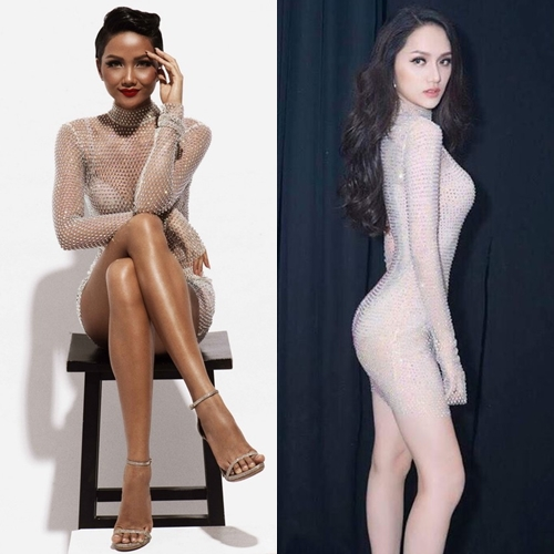 Chiếc váy xuyên thấu đính kim sa mà HHen Niê diện từng được Hương Giang Idol diện trước đó tại phần thi tài năng của Hoa hậu Chuyển giới Quốc tế.
