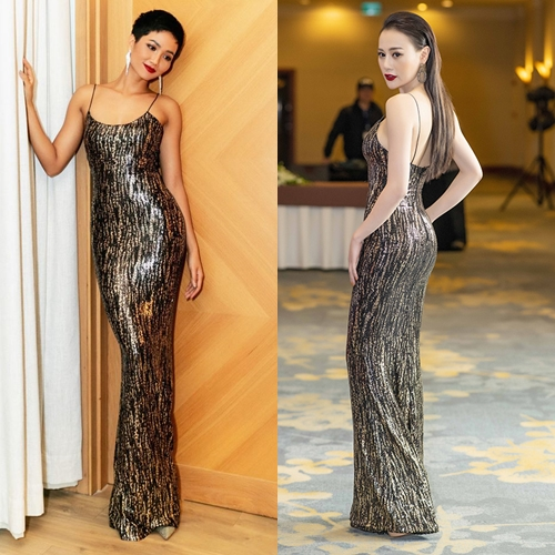 Đầm hai dây chất liệu sequin mô phỏng họa tiết da báo quyến rũ đều tôn lên đường cong nổi bật của Phương Oanh và HHen Niê.