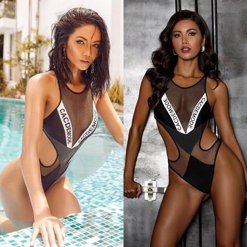 Thiết kế bikini khoét hông cao chất liệu pha lưới xuyên thấu giúp HHen Niê phô bày được số đo ba vòng gợi cảm 84-60-97. Nếu Top 5 Miss Universe 2018 mang vẻ đẹp hoang dại thì Minh Tú lại sở hữu nét mạnh mẽ, khỏe khoắn khi mặc chung thiết kế.