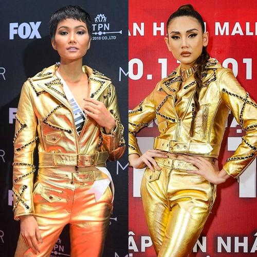Bộ cánh gam màu ánh kim nằm trong BST của H&M x Moschino mà HHen Niê diện trong buổi tổng duyệt cho đêm chung kết Miss Universe 2018 từng được Võ Hoàng Yến mặc trước đó không lâu.