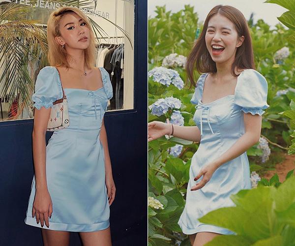 Quỳnh Anh Shyn và Mẫn Tiên là minh chứng cho việc dù da nâu hay da trắng, bạn vẫn có thể đẹp theo cách riêng. Đôi bạn thân mỗi người một vẻ khi mặc chung chiếc váy xanh pastel của một thương hiệu thời trang bình dân.