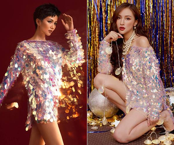 Hoa hậu HHen Niê trông rất khỏe khoắn, còn Kelly Nguyễn lại nữ tính, gợi cảm với cùng một chiếc áo của NTK Kim Khanh.