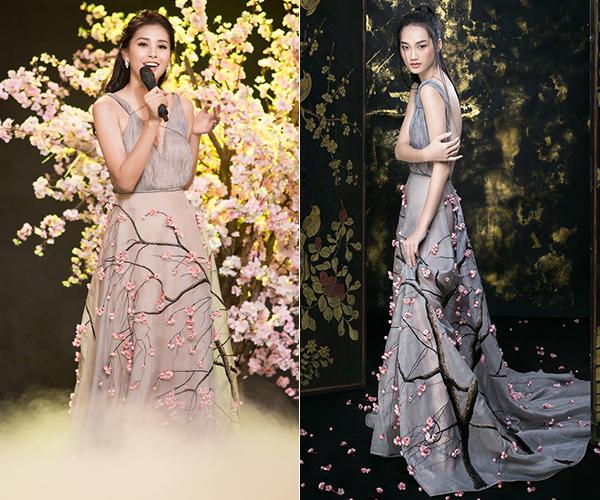Hoa hậu Tiểu Vy tham gia một chương trình chào Xuân với chiếc váy hoa đào rất nên thơ của NTK Trần Hùng. Tuy nhiên thiết kế này khi được Á quân The Face với vóc dáng mảnh mai diện thì vẫn thanh thoát hơn một bậc.