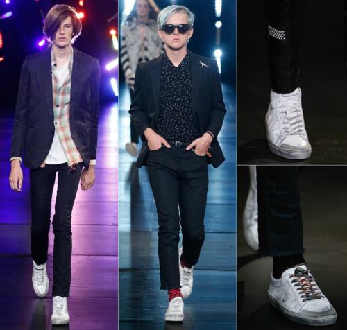 Giày bẩn trong show diễn của Saint Laurent.