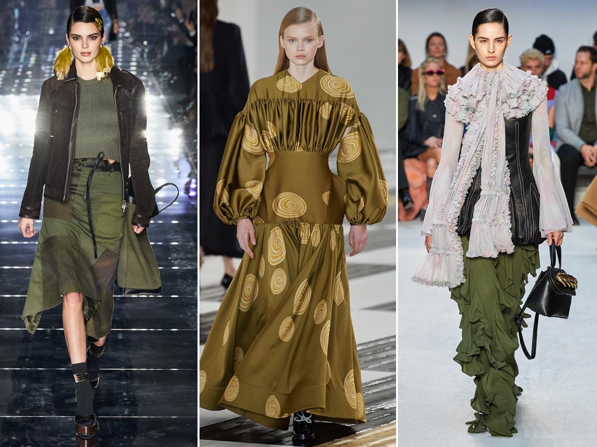 Xu hướng thời trang xanh olive thu đông 2020
