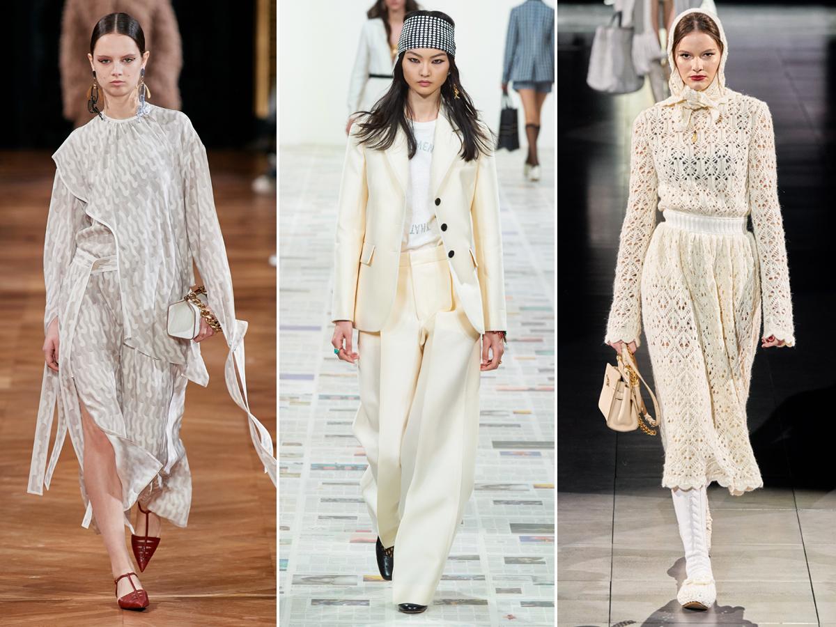 Xu hướng thời trang màu trắng ngà thu đông 2020