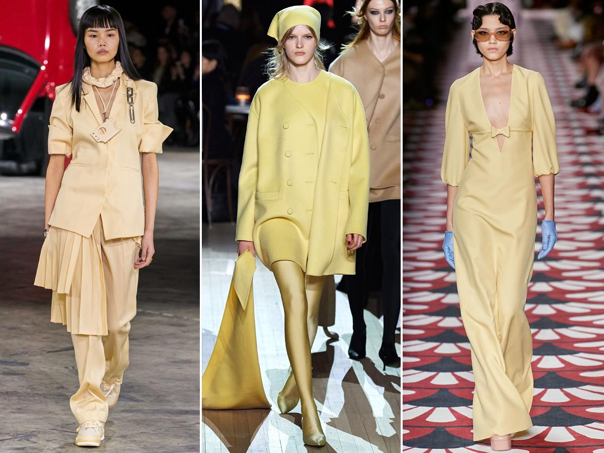 Xu hướng thời trang màu vàng nhạt thu đông 2020